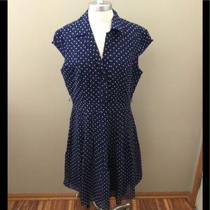Adrianna Papell Petite Silk Polka Dot Dress
